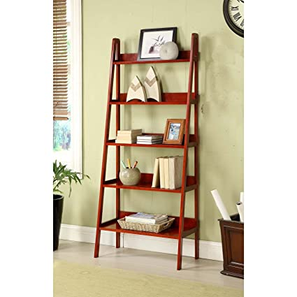 MINTRA CORPORATION Contemporary Cherry Leaning Ladder Shelf Bookcase