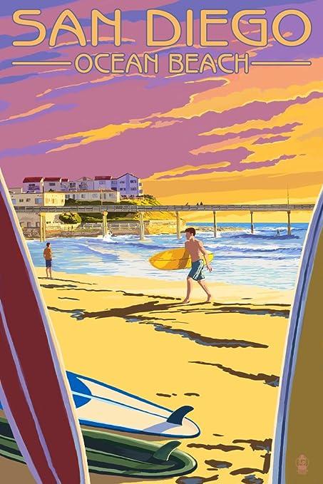 Amazon.com: San Diego, California - Ocean Beach (9x12 Art Print ...