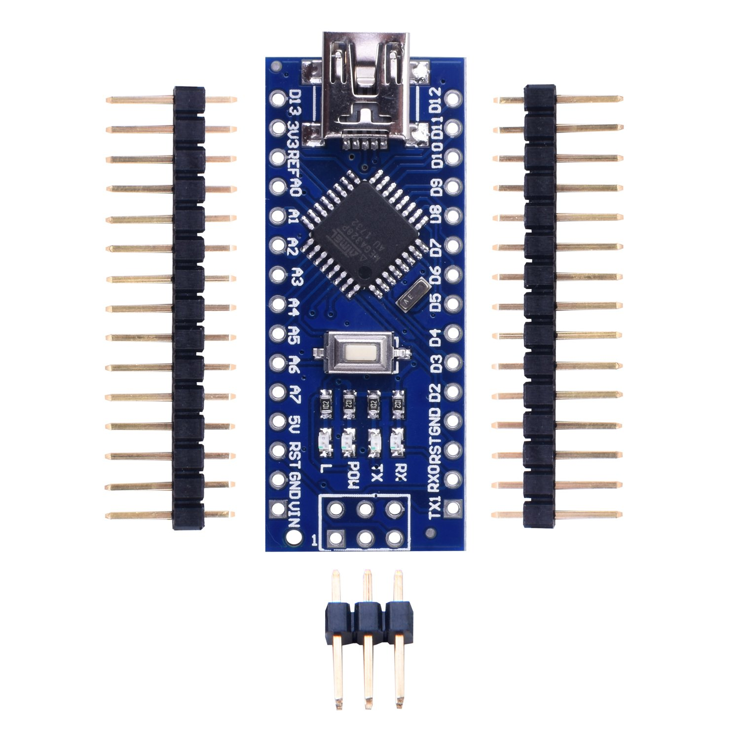 UNIROI Mini Nano V3.0 CH340G ATmega328P 5V 16M Micro Controller Board for Arduino (with 2pcs 15pin headers, 1pcs 6pin headers) UKY64