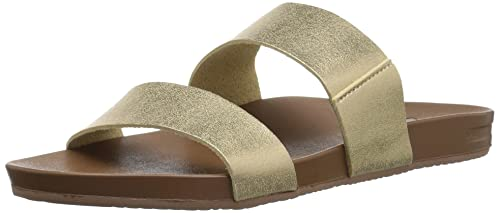 Reef Womens Sandals Vista Vegan Leather Slides For Women With Cushion Bounce Footbed