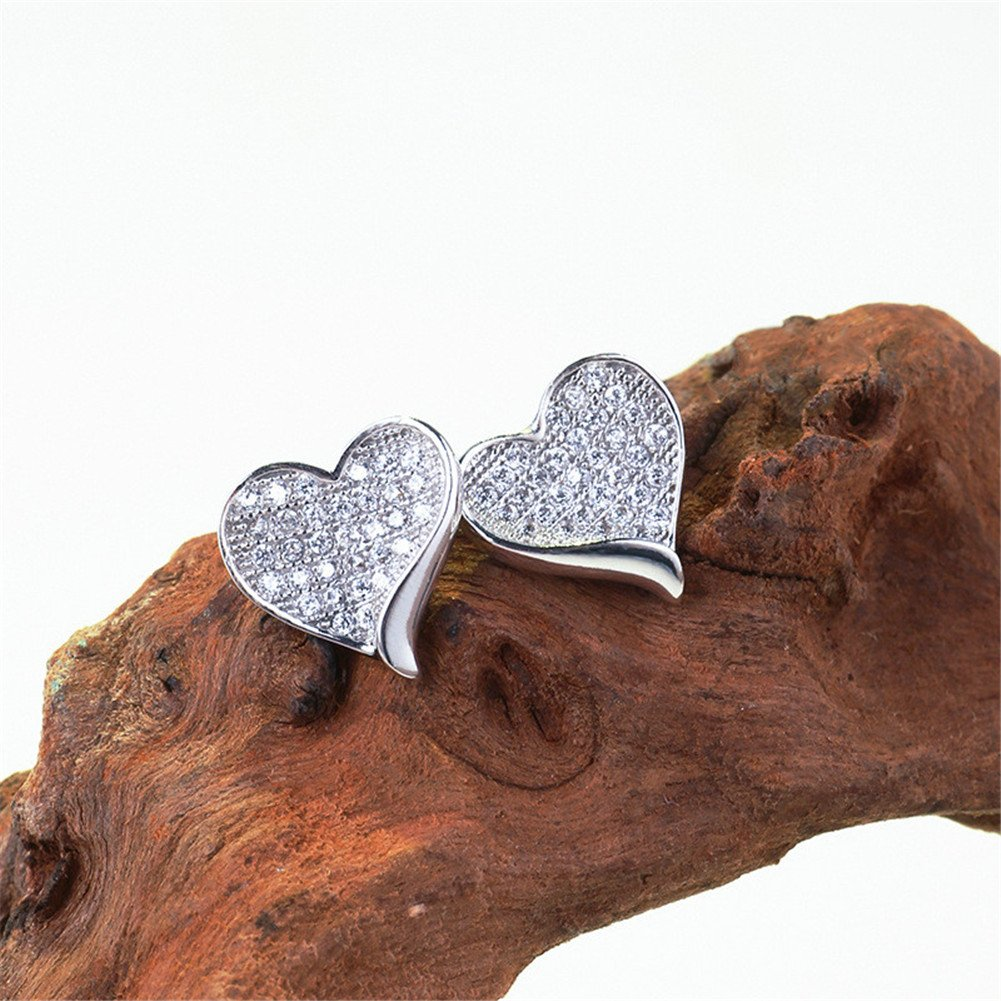 Bridesmaid Jewelry Gifts BIZE Love Heart Wedding Cubic Zircon Stud Earrings