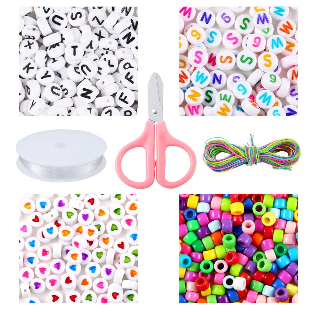 White and Colorful Alphabet Beads with Waxed Cotton Cord PP OPOUNT 1207 Pieces Letter Beads Kit Includes Acrylic Letter Beads Jewelry Making Large Hole Beads Elastic String Cord for Bracelets
