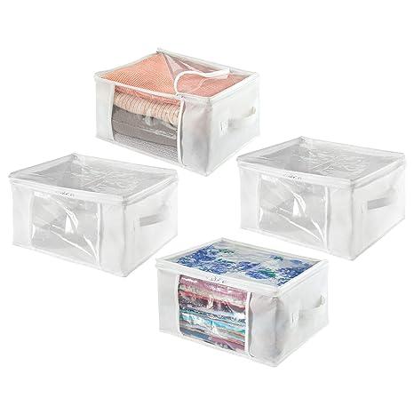 mDesign Juego de 2 cajas de almacenaje – Cajas de tela plegables de polipropileno, tamaño