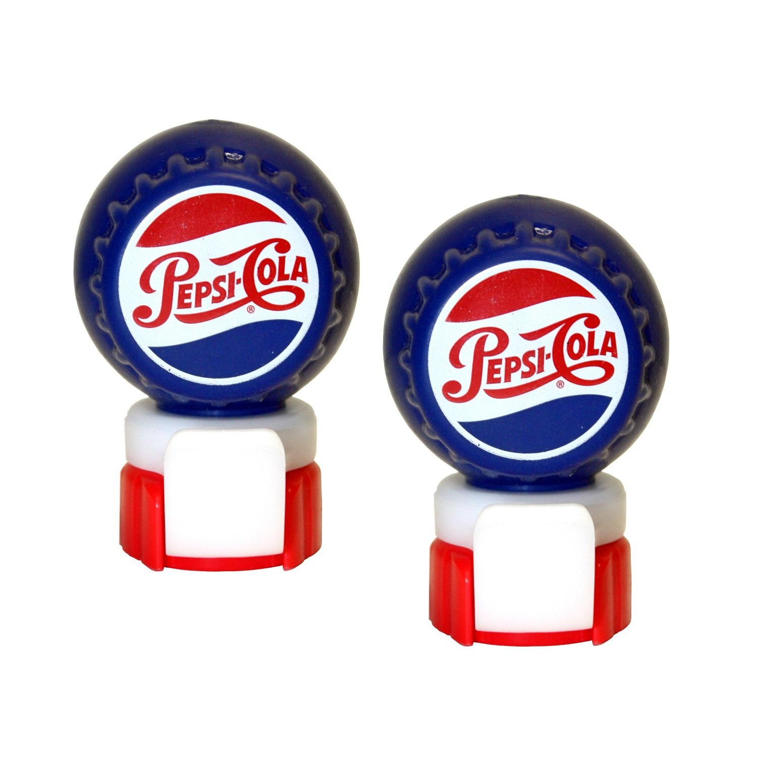 Jokari 18008P2 2 Count Pepsi Heritage Logo Fizz Keeper Soda Bottle Pump and Pour, Red/White/Blue