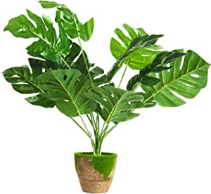 Artificial Palm Leaves Potted Plants Faux Fake Palm Fronds Monstera Plant Pots for Home Decor Indoor Desk Plant