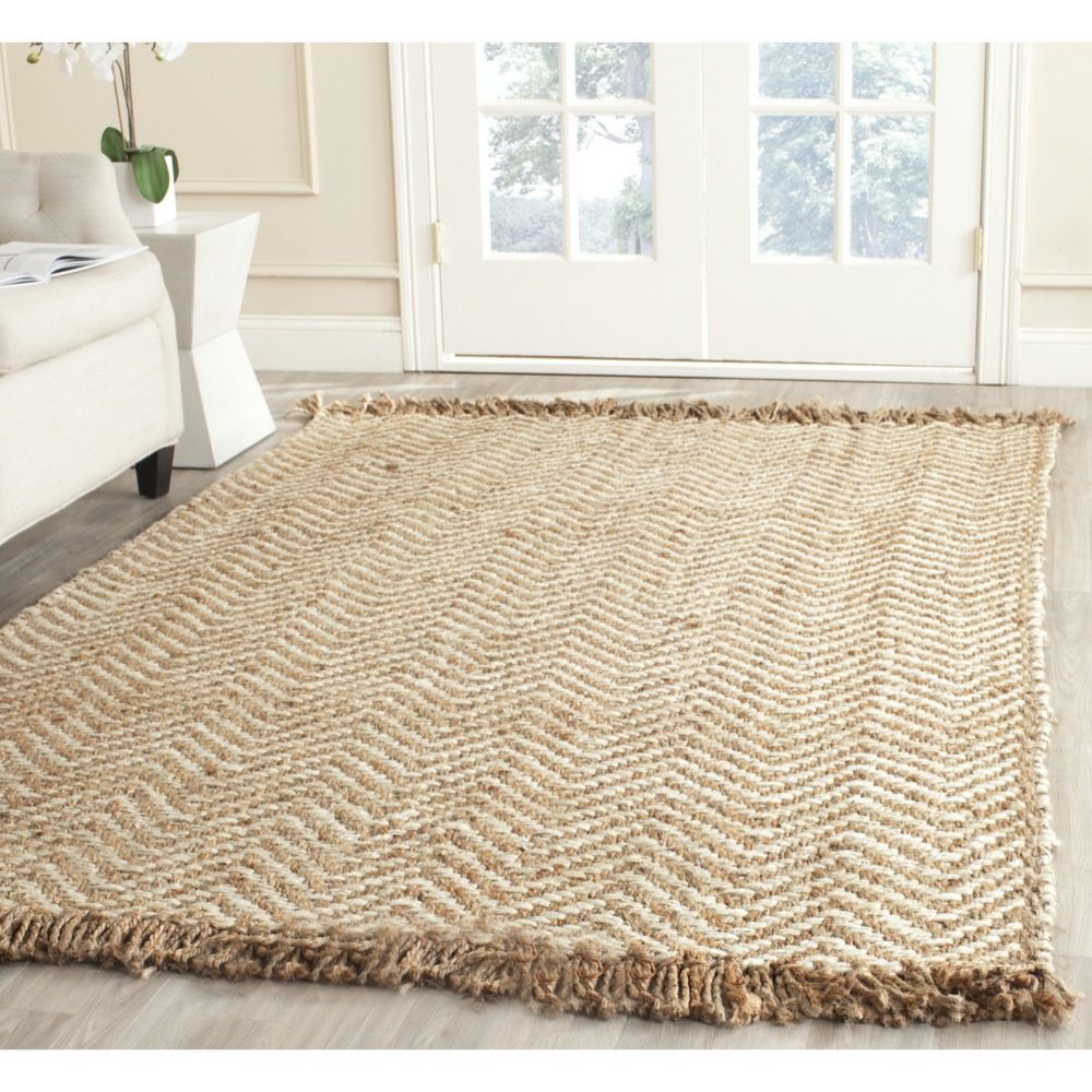 Natural Fiber Collection NF458A Hand Woven Bleach and Natural Jute Area Rug (4' x 6')