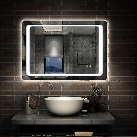 Specchio Da Bagno Con Luci Led.80x60cm Specchio Da Bagno Con Luce Led Illuminata Con