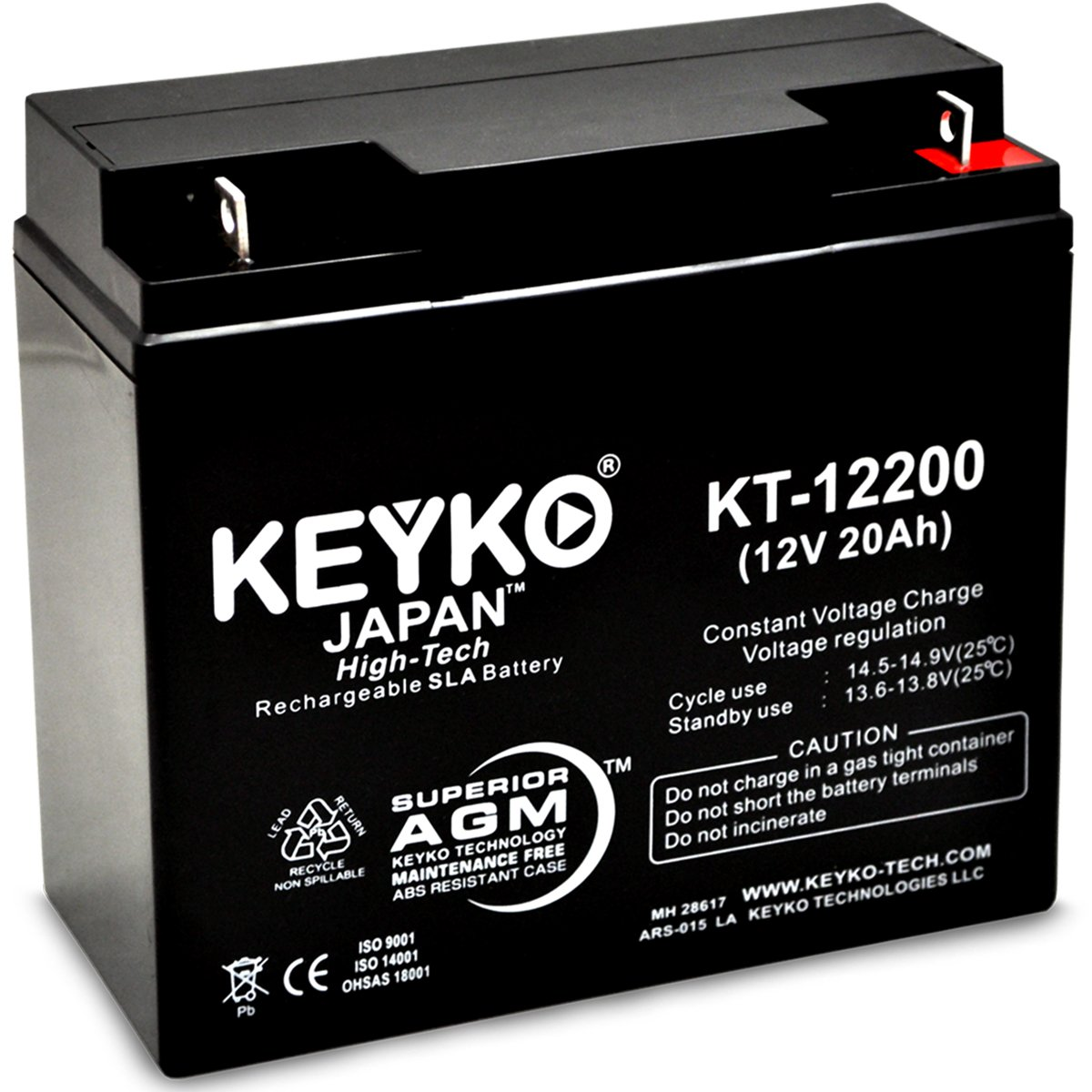 Solar Booster Pac ES2500 Jump Starter Battery 12V 22Ah SLA Sealed Lead Acid Rechargeable AGM Replacement Battery Genuine KEYKO (W/ L-1 Terminal) by KEYKO