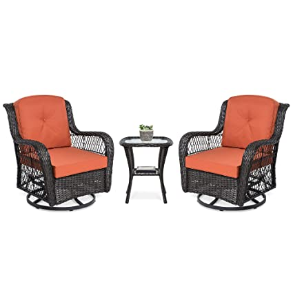 Phenomenal Best Choice Products 3 Piece Outdoor Wicker Patio Bistro Set With 2 360 Degree Swivel Rocking Chairs And Tempered Glass Top Side Table Rust Caraccident5 Cool Chair Designs And Ideas Caraccident5Info