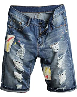 Court Bermuda Short Patch Denim Jeans Pantalon Jean Shorts Homme 0wZv4X
