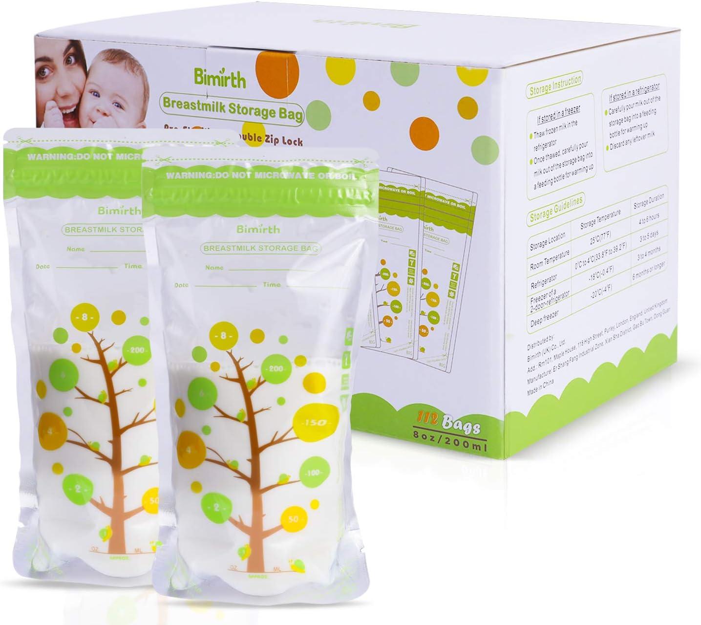 bolsas de almacenamiento preesterilizadas bolsa de almacenamiento de pie 112 unidades Bimirth Bolsas de almacenamiento de leche materna para lactancia materna