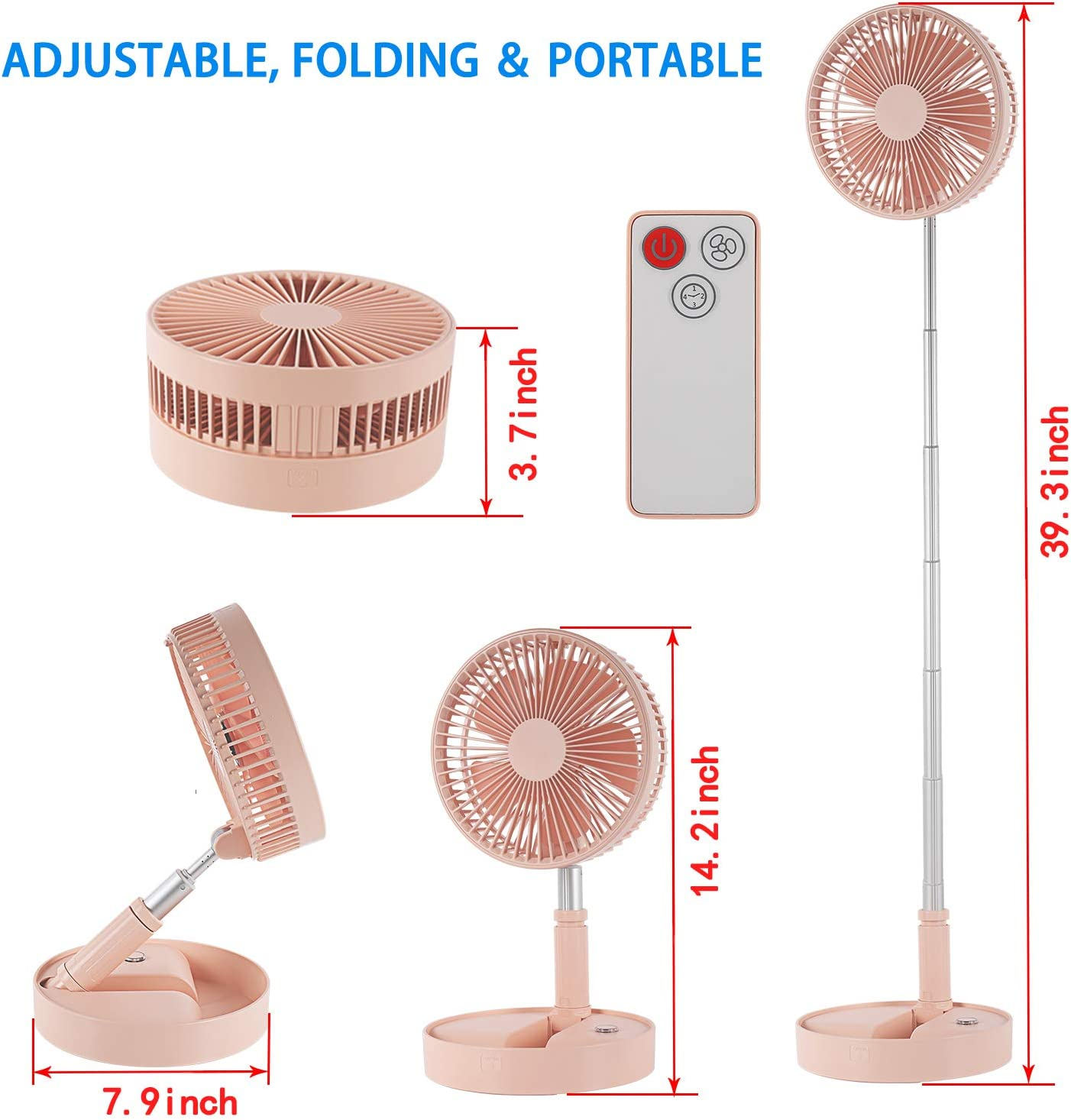 Lh$yu Portable Fan USB Rechargeable Fan Two Speed Adjustment of 360/° Rotating Wind Suitable for Office Homes to Carry Out,A