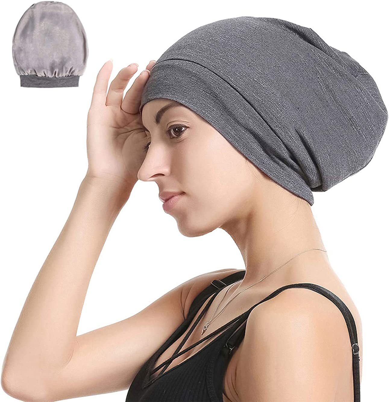 Slap Night Cap Sleep Hat Beanie - Dark Grey Women Organic Bamboo Satin Silk Lined Bonnet Surgical Cap Summer Scarf Hair Cover for Lady Lightweight Light Thin Jersey Chemo, Gifts for Women: Clothing