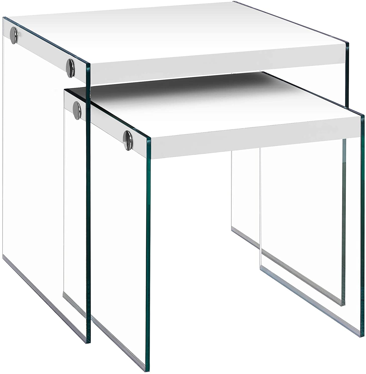 Monarch Specialties ,Nesting Table, Tempered Glass, Glossy White: Furniture & Decor