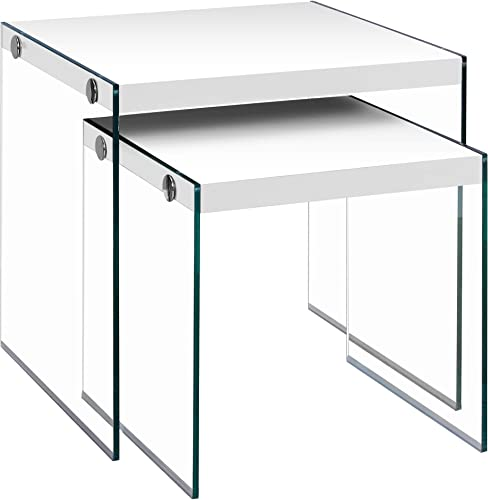 Monarch Specialties ,Nesting Table, Tempered Glass, Glossy White