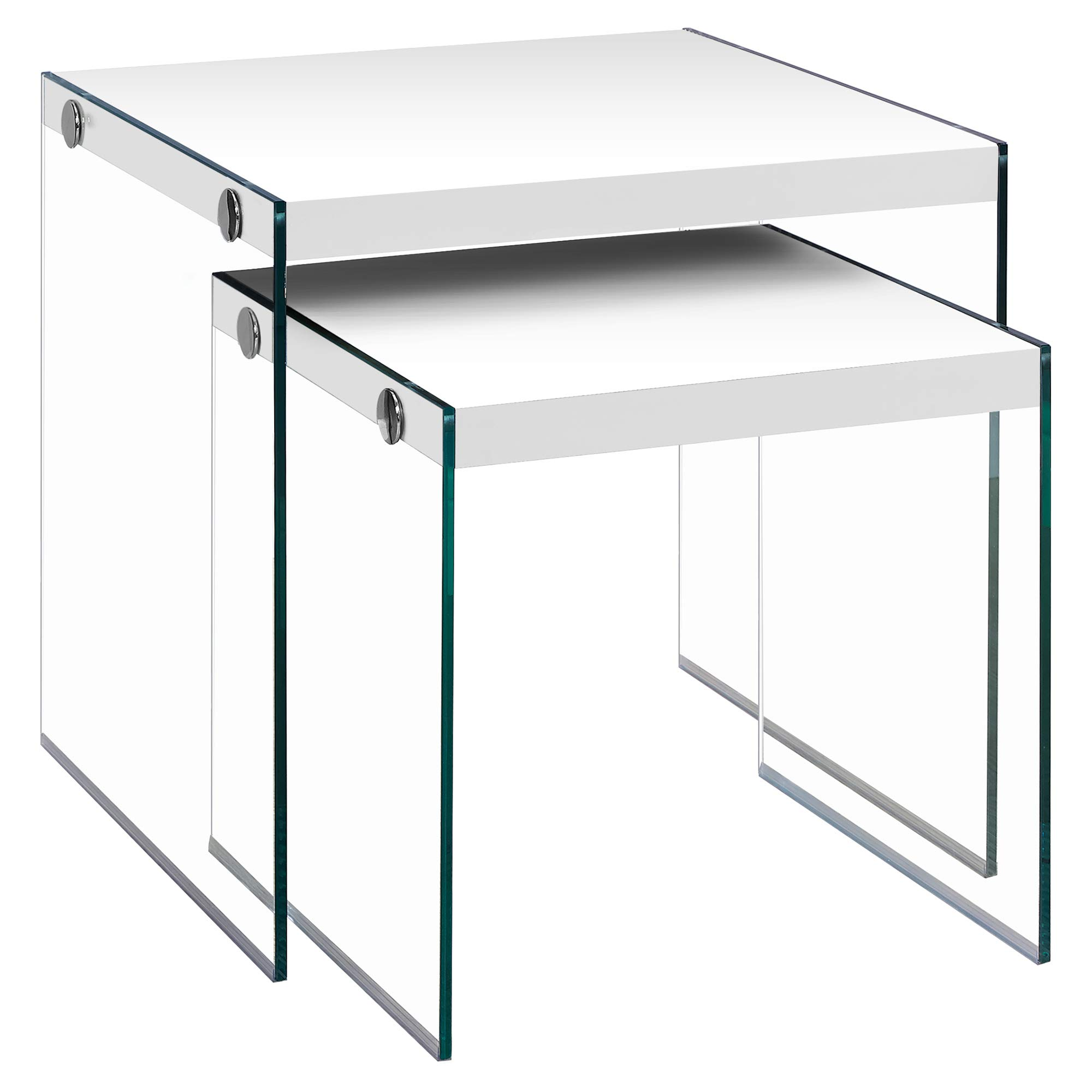 Monarch Specialties I 3287,Nesting Table, Tempered Glass, Glossy White by Monarch Specialties