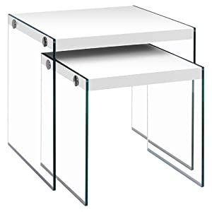 Monarch Specialties I 3287,Nesting Table, Tempered Glass, Glossy White