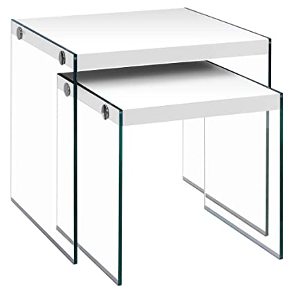 Amazon monarch specialties i 3287nesting table tempered glass monarch specialties i 3287nesting table tempered glass glossy white watchthetrailerfo