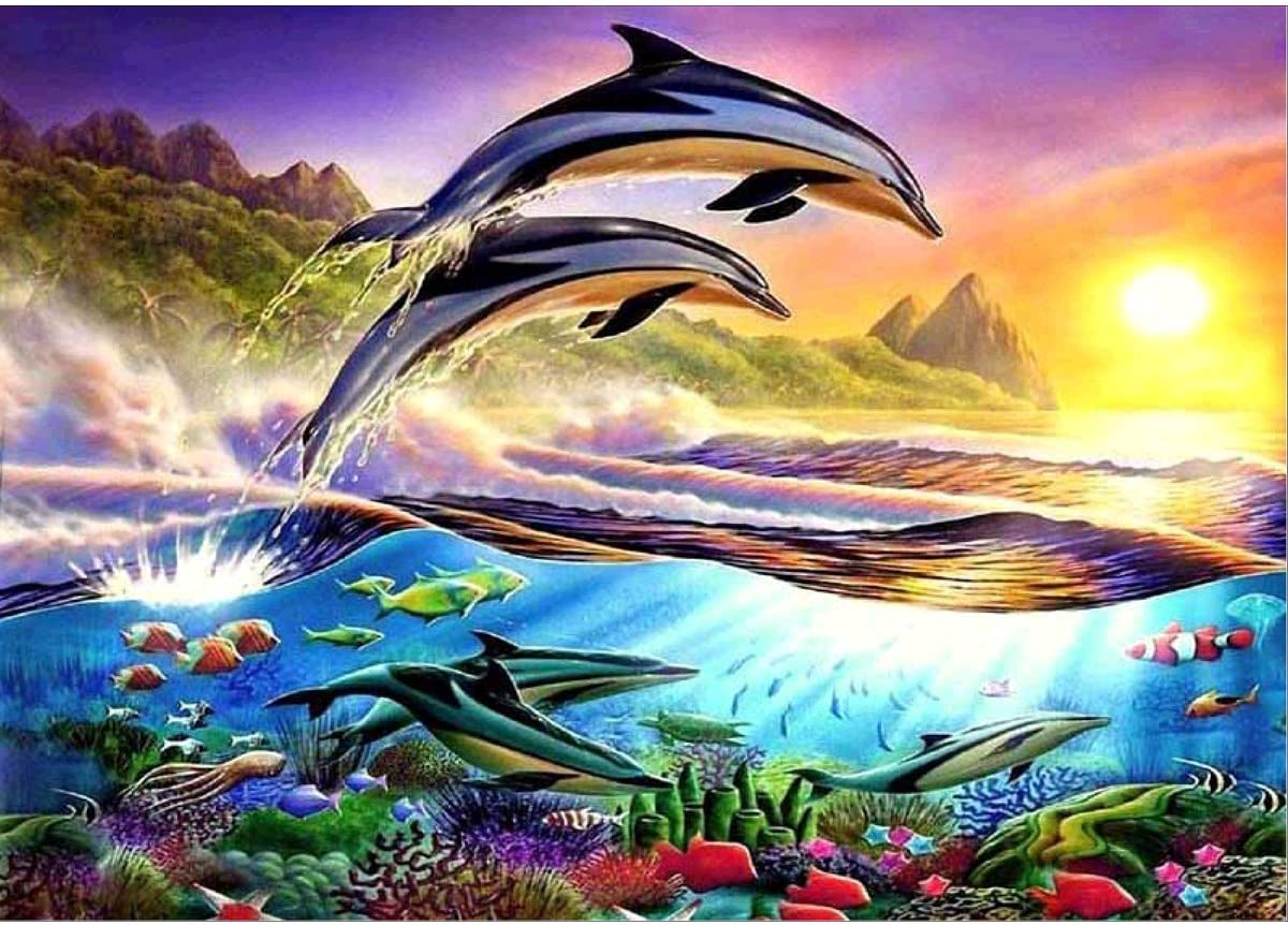 11.8x15.6In B DIY 5D Diamant Gem/älde nach Zahlen Kits kompletter Rundbohrer Strass Stickerei Kreuzstich Bild Kunst Handwerk Home Wall Decor Delphin Love 29,2 x 39,62 cm