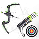 SainSmart Jr. Kids Bow and Arrows, Light Up Archery Set for Kids Outdoor Hunting Game with 5 Durable Suction Cup Arrows…