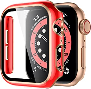 GEAK Compatible with Apple Watch Case 42mm, HD High Sensitivity Screen Protector with Red Bumper Cover Rose Gold Edge Protective Case for iWatch Women Men Series 3/2/1 42mm Red/Rose Gold