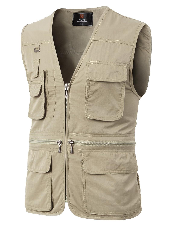 【H2H】 メンズ ワーク ファッション アクティブ 釣り キャンプ 登山 アウトドア 機能性 ベスト ポケット付き KMOV0113 B01DJY981A 5L アイボリー アイボリー 5L