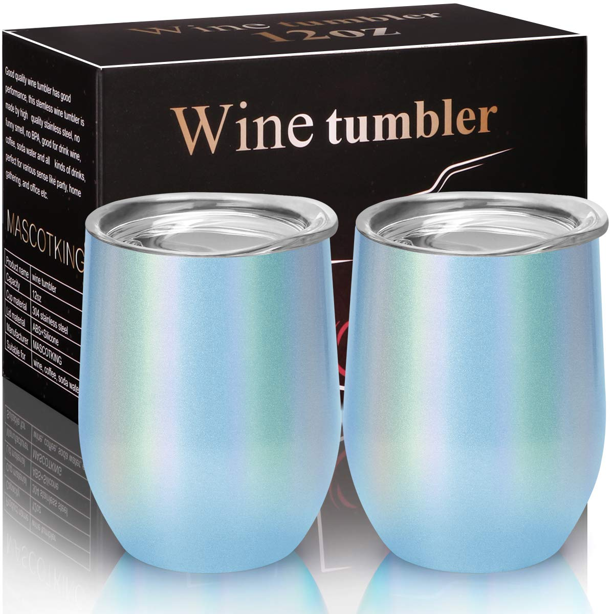 MASCOTKING Wine Glasses Tumbler - 12 oz 2 Pack - Double Wall Vacuum Insulated Cup with Lids for Keeping Wine, Coffee, Drinks - Beverage Warm in Winter-Perfect Mother's Day Gifts