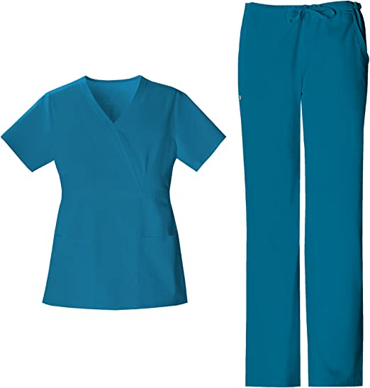 Scrubs Cherokee Luxe  Low Rise Cargo Pant 21100 Teal FREE SHIPPING
