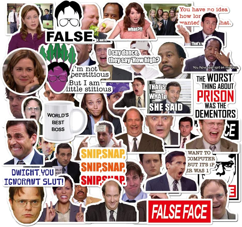 The Office Themed Stickers 50pcs, Dunder Mifflin Vinyl Sticker for Laptops Hydro Flask Water Bottles Guitar Bike, Funny Quote Stickers The Office Merchandise Stickers