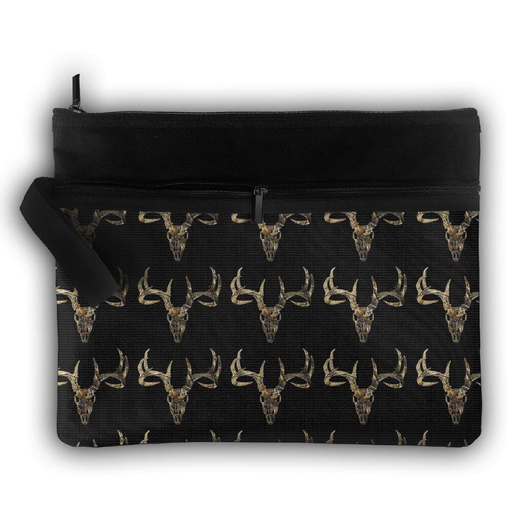 Deer Hunting - Deer Head Camoflauge Deer Oxford Travel Portable Hanging Toiletries Bag Organizer Cosmetic Make Up Bag