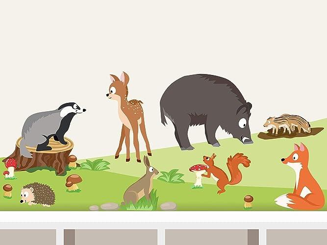Wandtattoo Waldtiere Set I L 8 Tiere Wandaufkleber Fur Babyzimmer Kinderzimmer