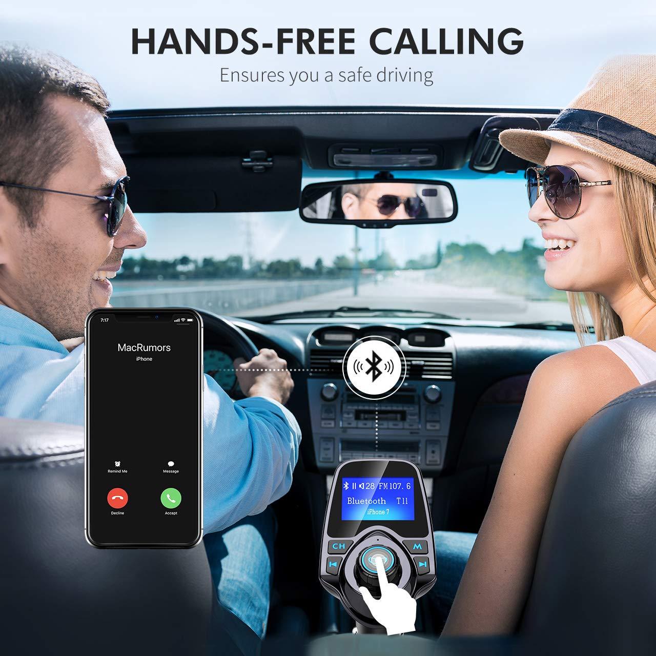 Mpow Transmetteur FM Bluetooth Kit Voiture Mains Libres sans Fil Adaptateur Radio Chargeur Allume Cigare Voiture Double Port USB /Écran 1,44 Port dEntr/ée ou de Sortie 3,5 mm Soutien Carte TF//Cl/é USB