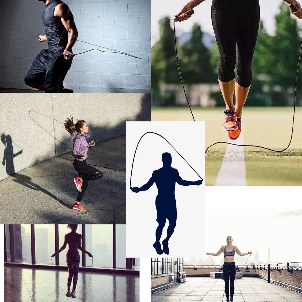 Jump Rope Tangle-Free Adjustable Ball Bearings Rapid Speed Skipping Rope Foam Handles for Aerobic Exercise,Speed Training,Endurance Training and Fitness Gym for Men Woman Kids