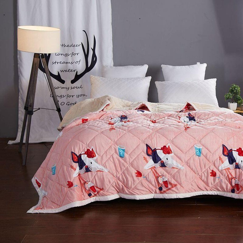 YAOHAOHAO Pink Animal of the image of three layers of invisible heel heat bed linen flannel quilt Winter (Size: 120200cm).