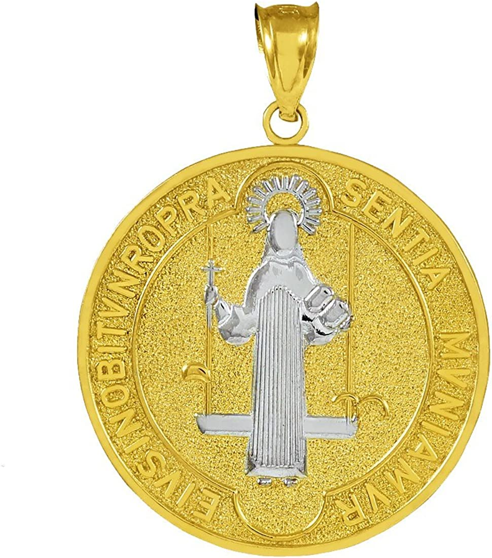 Medal of Saint Benedict 10k Two-Tone Gold Coin Pendant (Medium) 71mW9-bz3MLUL1100_