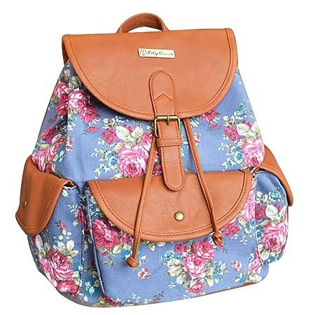 3df9cffbbb77b Damen Mädchen Retro Rucksack Tagesrucksack Daypack Backpack für Universität  Schule Bergsteigen Picknick Außflug Reisen - 28 17 34cm Blau mit Blumen  ...