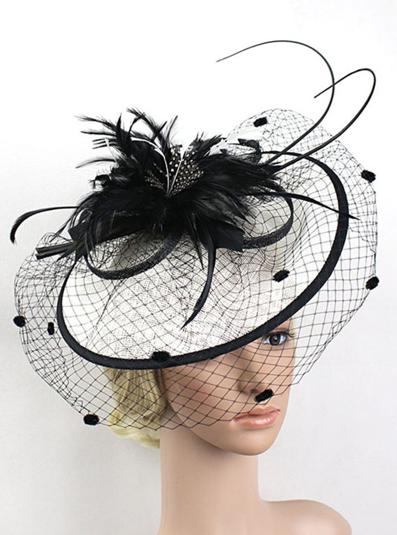 Z&X Fascinator with Headband Derby Party Feather Floral Mesh Pillbox Hat Black by Z&X (Image #3)