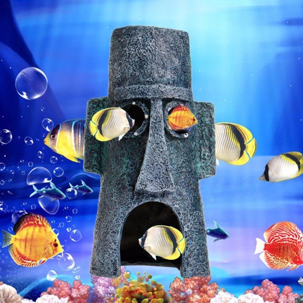 EFORCAR 1pcs acuario Resina Casa Animales Acuáticos de la cueva decoración del ornamento para los pescados del tanque (Calamardo Pascua Inicio): Amazon.es: ...