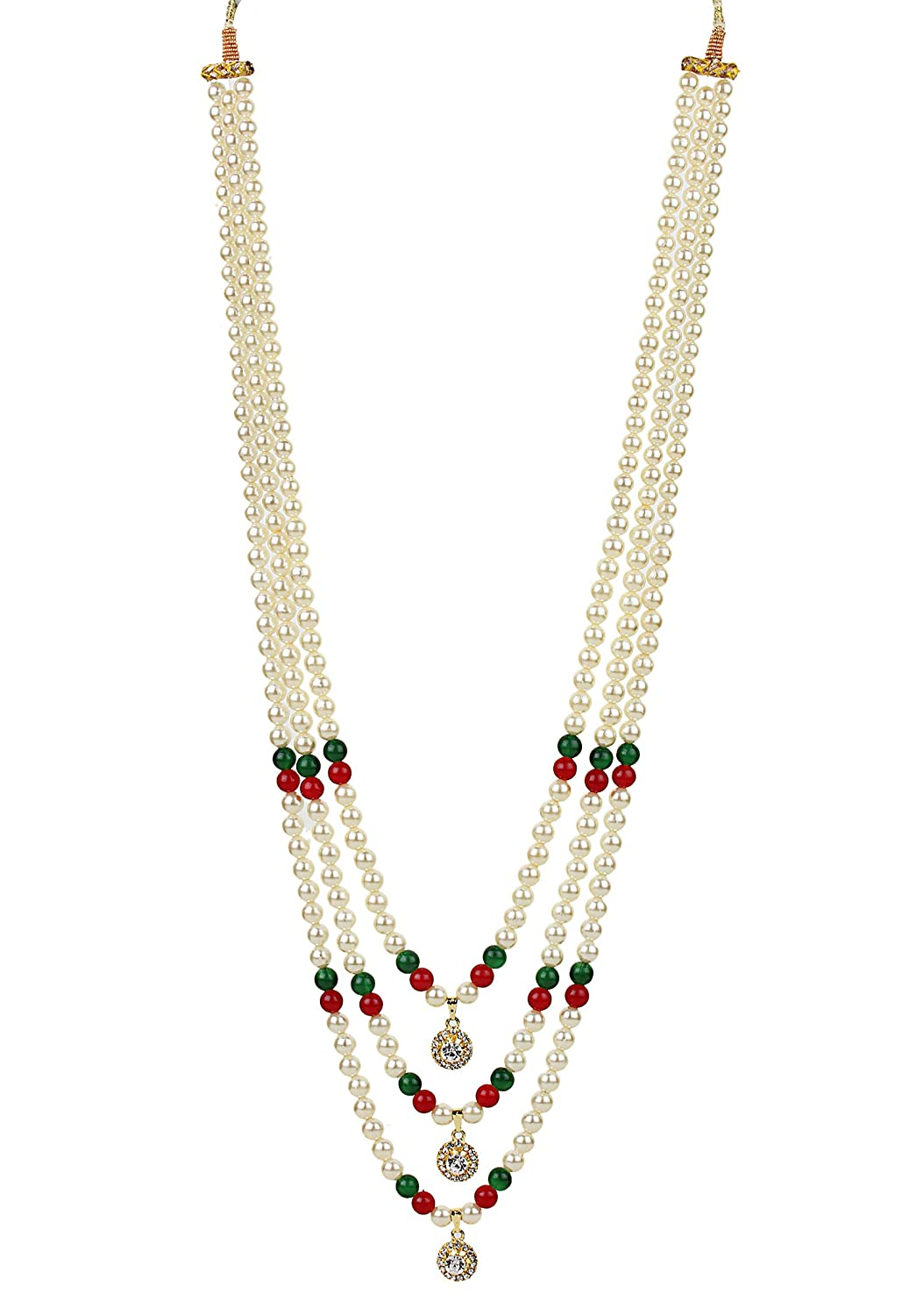 f02e85155d70b Buy Bling N Beads Long Triple line Pearl Necklace for Men Online at ...