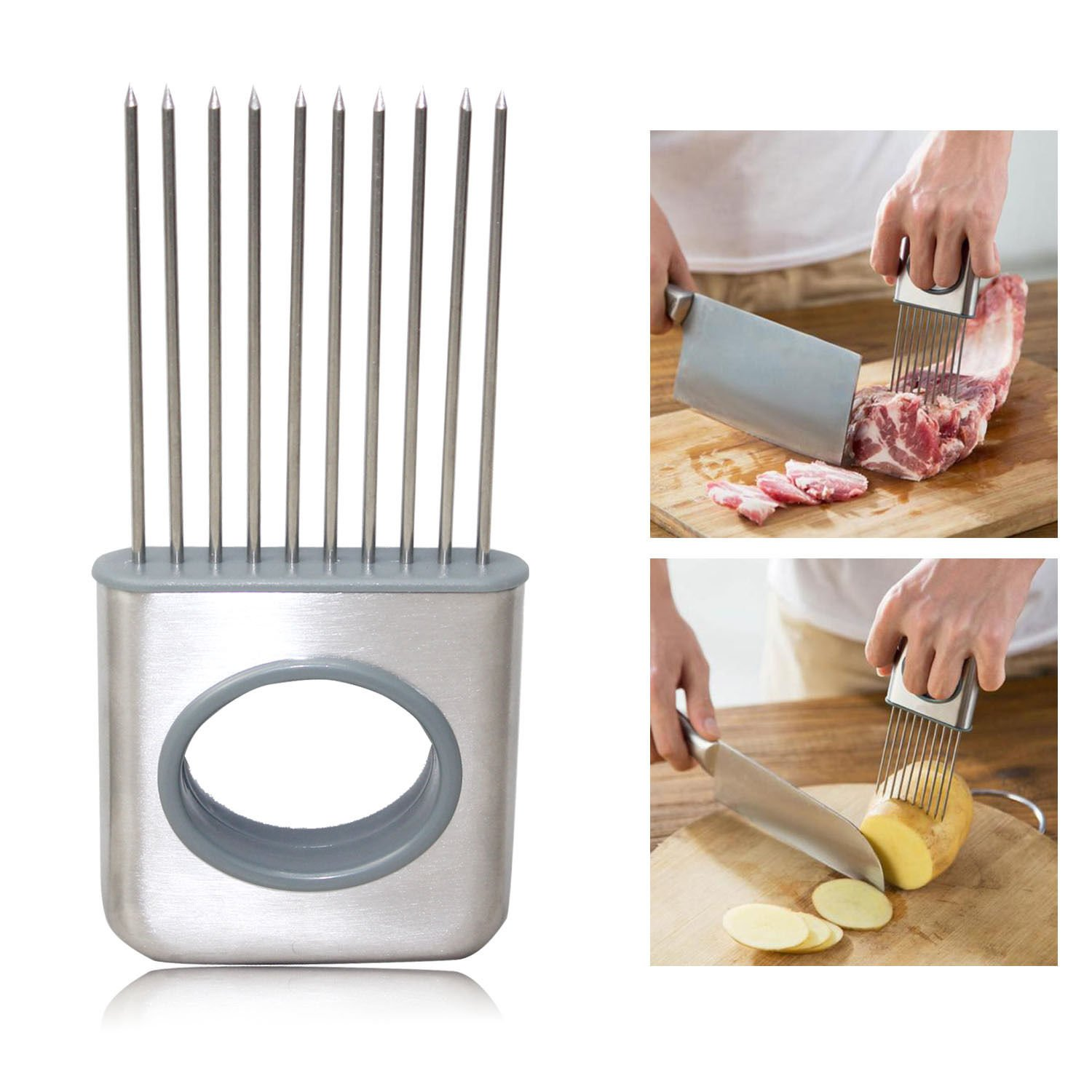 MYCS Onion Holder Slicer Tomato Vegetable Cutter Stainless Steel Kitchen Gadget Tools MYCS GLOBAL