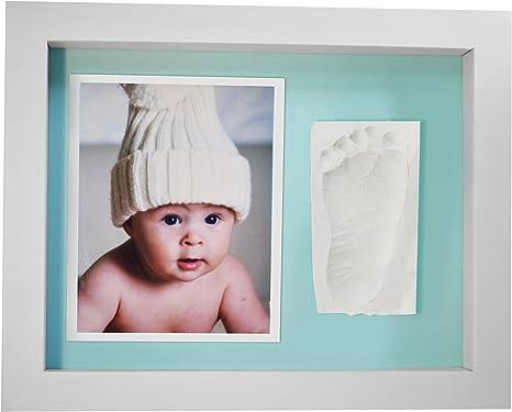 Marco de Fotos para Bebé - 3D Marco de Huellas para Niños - Regalos para Bebé Recién Nacido,Fondo Azul: Amazon.es: Bebé