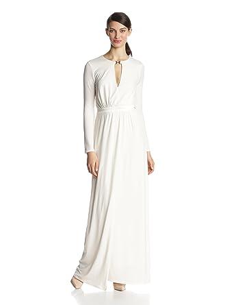 Amazon.com: HALSTON HERITAGE Women\'s Long Sleeve Jersey Evening Gown ...