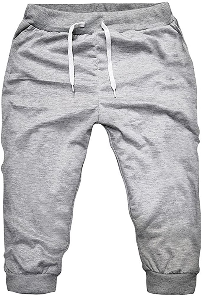 LIUguoo Mens Casual Cotton Shorts Lightweight Stretch 3//4 Jogger Sport Pants with Pockets Slim Fit