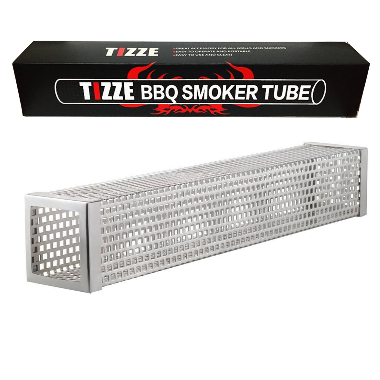 TIZZE 12 inches BBQ Pellet Smoker Tube for Any Grill or Smoker, Hot or Cold Smoking - Easy, Safety and Tasty Smoking by TIZZE