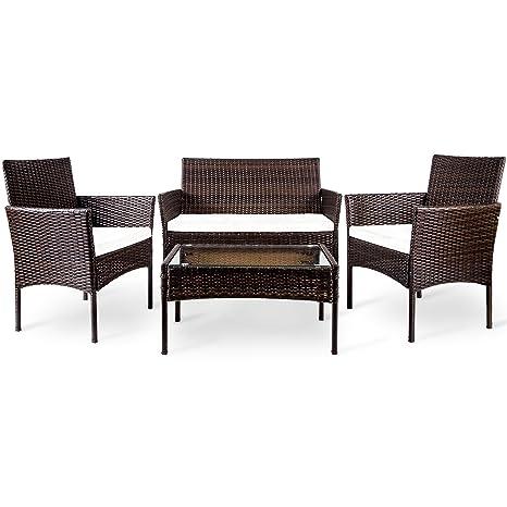 Amazon Com Merax 4 Pc Outdoor Garden Rattan Patio Furniture Set