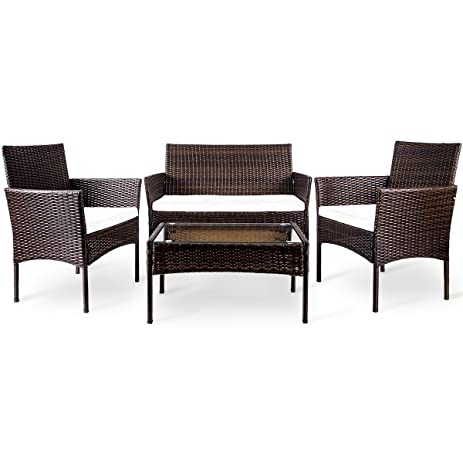 merax 4 pc outdoor garden rattan patio furniture set cushioned seat wicker sofa brown - Rattan Garden Furniture 4 Seater