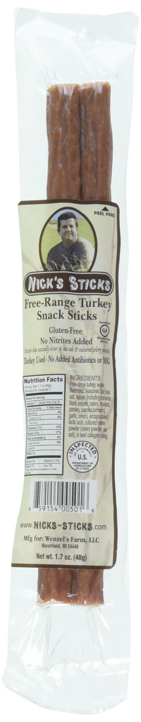 Nick's Sticks Free Range Turkey Snack Sticks - Gluten Free – Paleo, Keto, Whole30 Approved – No Sugar, Soy, Antibiotics or Hormones (6 – 1.7oz. Packages of 2 Sticks)