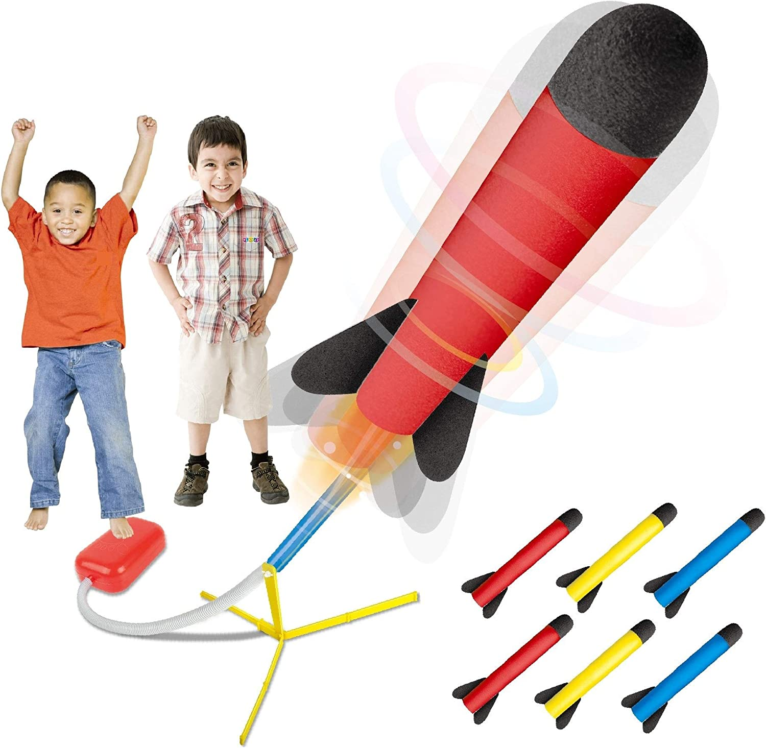 Foam Tipped Rocket Launcher Jump Foot Trigger with 2 Darts . ROSEBEAR Outdoor Activity Play Kids Toy Set