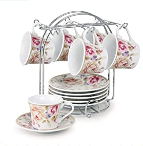 Lorren Home Trends 80-5678 Cups and Saucers, One Size, Pink