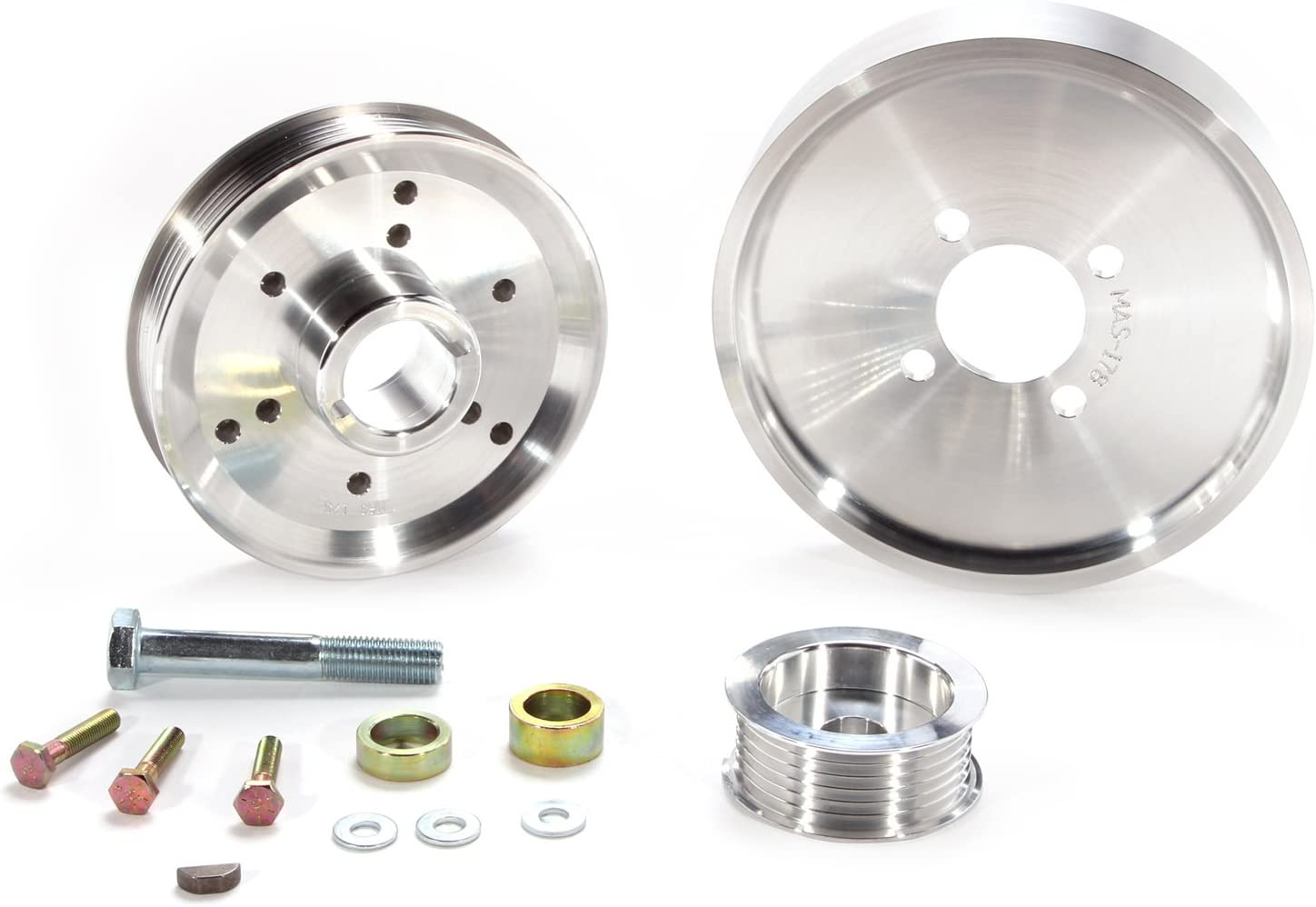 BBK 15550 Aluminum 8-Rib Underdrive Pulley Kit for Ford F-Series//Expedition 4.6L//5.4L 3 Piece